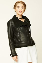 Forever 21 Faux Fur Lined Moto Jacket Black