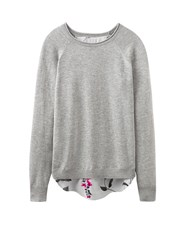 Joules Jumper With Woven Shirt Hem Grey
