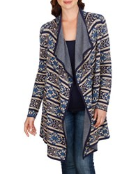Lucky Brand Knit Patterned Open Front Cardigan Blue Multi