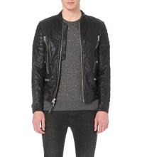 Allsaints Sanderson Leather Bomber Jacket Black