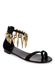 Giuseppe Zanotti Rock 10 Spiked Suede Flat Sandals Black