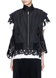 Sacai Floral Embroidery Lace Layer Trench Jacket Black