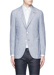 Isaia 'Sailor' Wool Cotton Boucle Blazer Blue
