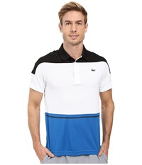 Lacoste T2 Short Sleeve Color Block Ultra Dry Black White Ink Men's Clothing Multi
