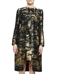 Oscar De La Renta Long Sleeve Snap Front Coat Gold