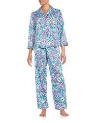 Miss Elaine Floral And Leopard Print Charmeuse Pajama Set Grey
