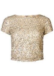 Alice Olivia Kelli Embellished Mesh Top Gold