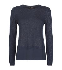 Peserico Silk Hem Glitter Sweater Female Navy