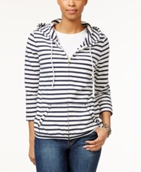 Tommy Hilfiger Striped Zipper Front Hoodie