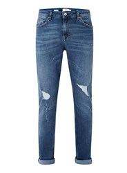Topman Light Wash Blue Distressed Stretch Skinny Jeans
