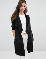Only Melanie Faux Suede Belted Jacket Black