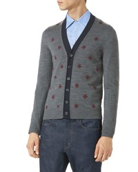 Gucci Wool Cardigan W Bees And Stars Gray