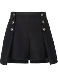 Sacai Luck Pleated Overlay Buttoned Shorts Blue