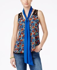 Self Esteem Juniors' Printed Scarf Tank Top Deep Mint Navy