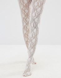 Jonathan Aston Jonathon Rose Print Tights Ivory Cream