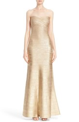 Women's Herve Leger Strapless Foiled Bandage Gown