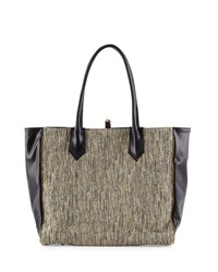 Reese Tweed And Leather Tote Bag Ivory Black Lauren Merkin