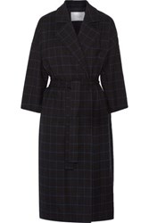 Derek Lam 10 Crosby By Checked Twill Coat Midnight Blue