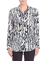 Equipment Silk Cheetah Print Shirt Marshmallow Multi
