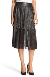 Alice Olivia Women's 'Tianna' Leather And Lace Stripe Midi Skirt Black Matte Gold