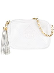 Chanel Vintage Small Quilted Crossbody Bag White