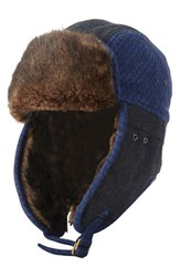 Men's Original Penguin Quilted Melton Wool And Faux Fur Trapper Hat Black