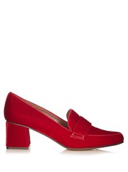 Tabitha Simmons Margot Block Heel Velvet Loafers Red