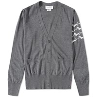 Thom Browne Hector Arm Stripe Cardigan Grey
