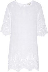 Miguelina Dahlia Crocheted Cotton Lace Dress White