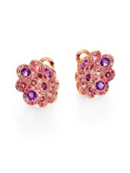 Roberto Coin Semi Precious Multi Stone And 18K Rose Gold Floral Button Earrings Rose Gold Multicolor