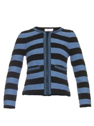 Sonia Rykiel Collarless Stretch Boucle Striped Jacket Blue Stripe