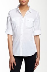 Sandra Ingrish Knit Side Roll Sleeve Button Down Shirt White