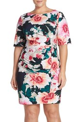 Eliza J Plus Size Women's 'Exploding Floral' Print Pleat Jersey Sheath Dress