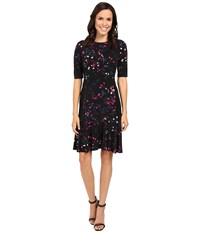 Ellen Tracy Flounce Hem Dress Reflection Multi Women's Dress Black