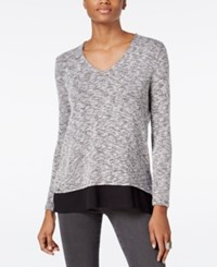 Bar Iii V Back Chiffon Contrast Top Only At Macy's Deep Black