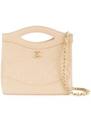 Chanel Vintage Quilted Shopper Tote Nude And Neutrals