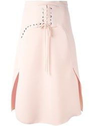 Carven Lace Up Detailing A Line Skirt Pink Purple
