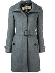 Burberry Belted Mid Length Coat Grey