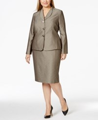 Le Suit Plus Size Metallic Jacquard Jacket Skirt Suit
