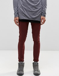 Asos Extreme Super Skinny Chinos In Burgundy Burgundy Red