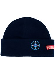 Raf Simons Patched Beanie Blue