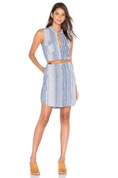Blank Nyc Stripe Button Up Dress Blue