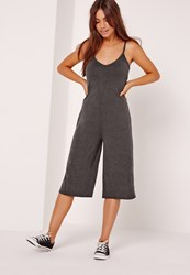 Missguided Jersey Strappy Plunge Culotte Jumpsuit Charcoal Grey Grey
