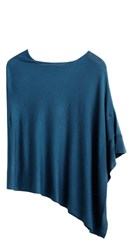 Sandwich Knitted Poncho Blue