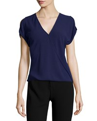 Halston Short Sleeve Wrap Top Aubergine