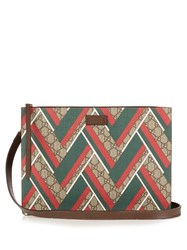 Gucci Gg Supreme Chevron Print Messenger Bag Brown Multi