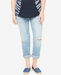 Motherhood Maternity Distressed Light Wash Boyfriend Jeans