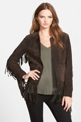 Blanknyc Denim Suede Fringe Jacket Brown