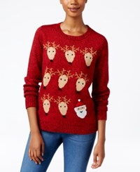 Karen Scott Reindeer Christmas Sweater Only At Macy's New Red Amore Marled