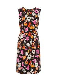 Oscar De La Renta Sleeveless Floral Print Silk Pencil Dress Multi